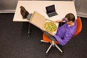 picture of take out pizza  - fast meal in office  - JPG