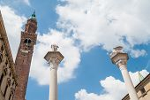 picture of vicenza  - Bottom view of the two columns and the clock tower in the main square of Vicenza - JPG