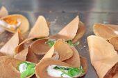 stock photo of crepes  - close up of thai crispy pancake  - JPG