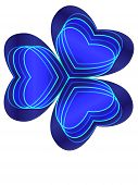 stock photo of shamrocks  - Blue shamrock with cyan lines and four neon hearts inside - JPG