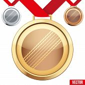 stock photo of gold medal  - Three Medals with the symbol of a cricket inside - JPG
