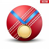 pic of gold medal  - Sport gold medal with ribbon for winning of cricket game - JPG