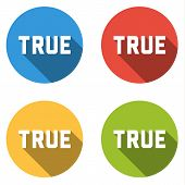 stock photo of voting  - Set of 4 isolated flat colorful buttons  - JPG