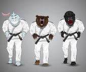 foto of gorilla  - set of cartoon sports man - JPG
