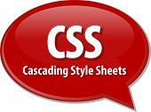 stock photo of bubble sheet  - Speech bubble illustration of information technology acronym abbreviation term definition CSS Cascading Style Sheets - JPG