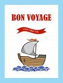 foto of bon voyage  - Bon Voyage journey greeting card with hand drawn sailing ship - JPG