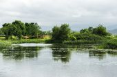 foto of wetland  - Gyeongpo lake park with the restored wetlands reflecting on the small river running nearby the lake - JPG