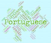 picture of dialect  - Portuguese Language Shows Communication Vocabulary And Text - JPG