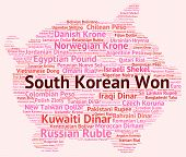 stock photo of korean  - South Korean Won Meaning Worldwide Trading And Coinage - JPG