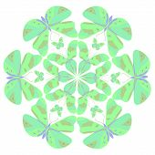 picture of decoupage  - Round vector pattern with colorful green and turquoise butterflies - JPG