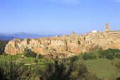 picture of hilltop  - Pitigliano hilltop town panoramic view - JPG