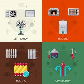 stock photo of ventilator  - Heating ventilation and convection flat icons set isolated vector illustration - JPG