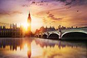 image of london night  - Big Ben and Westminster Bridge at dusk London UK - JPG