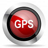 stock photo of gps  - gps red glossy web icon original modern design for web and mobile app on white background  - JPG
