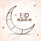 image of eid festival celebration  - Elegant greeting card design with shiny crescent moon on stars decorated grungy background for Islamic famous festival - JPG