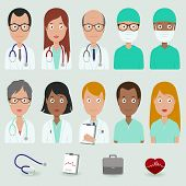 stock photo of multicultural  - Vector illustration set of a multicultural group of male and female medical workers - JPG