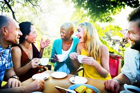 stock photo of chat  - Diverse People Coffee Shop Outdoors Chat Concept - JPG