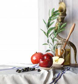 stock photo of torah  - Honey jar with apples and pomegranate Rosh Hashana hebrew religious holiday - JPG