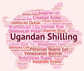 stock photo of shilling  - Ugandan Shilling Showing Worldwide Trading And Market - JPG