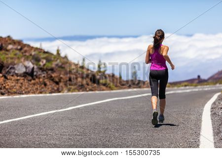 poster of Outdoor fitness woman runner running on road. Sport athlete running woman runner jogging outdoor tra