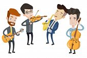 Band of musicians playing on musical instruments. Young musicians playing on instruments. Band of mu poster