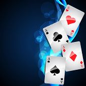 stock photo of playing card  - playing cards on beautiful glowing blue background - JPG