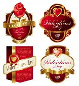 stock photo of heart valentines  - Golden valentines frames with heart - JPG