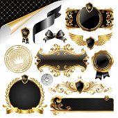 Постер, плакат: Золото & Черный Коллекция элементов дизайна