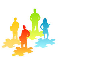 image of change management  - illustration of people and puzzle pieces - JPG