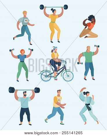 Group People Practicing Exercises Of Different Kinds Of Sport  Set Of  Humans Doing Sports vector Car poster