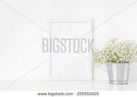 Cute White Frame Mockup A4
