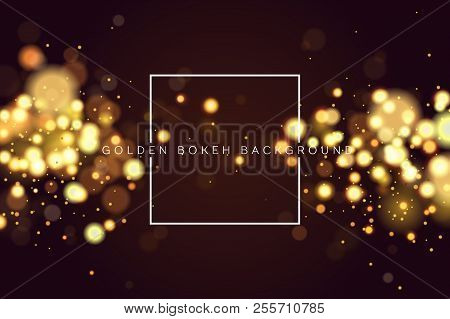 Magic Christmas.Abstract Defocused Circular Golden Bokeh Sparkle Glitter Lights Background Magic Christmas Backgrou Poster