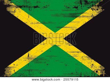 Jamaican grunge flag An old