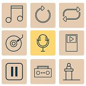 Audio Icons Set With Tape, Refresh, Dj Disc And Other Refresh Elements. Isolated  Illustration Audio poster
