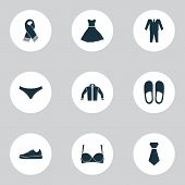 Dress Icons Set With Gumshoes, Bra, Scarf And Other Brasserie Elements. Isolated  Illustration Dress poster