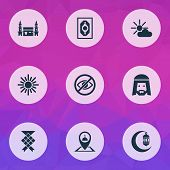 Religion Icons Set With Crescent, Muslim, Mushaf And Other Midday Elements. Isolated Vector Illustra poster
