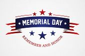 Memorial Day - American Flag Ribbon With Lettering Memorial Day. Memorial Day Retro Poster Card Cele poster