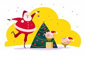 Vector Flat Merry Christmas Illustration With Santa Claus And Two Cute Pig Elf Companions Decorating poster