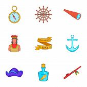 Discovery Of America Icons Set. Cartoon Illustration Of 9 Discovery Of America Icons For Web poster