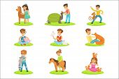 Children Petting The Small Animals In Petting Zoo Collection Of Cartoon Illustrations With Kids Havi poster