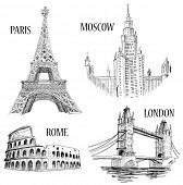 Dibujo de símbolos de ciudades europeas: Londres (London Bridge), Roma (Coliseo), Paris (Torre Eiffel), Mosc