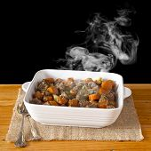 Bowl Of Steaming Beef Stew Family Meal poster