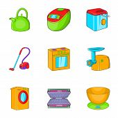 Appliances Icons Set. Cartoon Illustration Of 9 Appliances Icons For Web poster