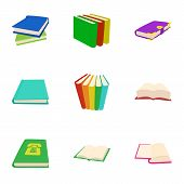Library Icons Set. Cartoon Illustration Of 9 Library Icons For Web poster