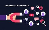 Customer Retention Strategy, Digital Inbound Marketing, Customer Attraction Flat Ultraviolet Vector  poster