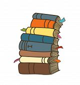 Pile Of Book. Cartoon Stack Of Book. Vector Isolated Book On White Background. Book With Bookmarks. poster