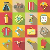 Bike Items Icons Set. Flat Illustration Of 16 Bike Items Icons For Web poster