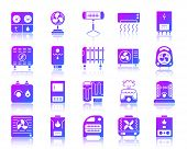 Hvac Glyph Icons Set With Reflection. Violet Sign Kit Of Climatic Equipment. Fan Vector Pictogram Co poster