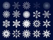 Winter Set Of White Snowflakes Isolated On Dark Background. Snowflake Icons. Snowflakes Collection F poster