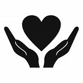 Hands Holding Heart Icon. Simple Illustration Of Hands Holding Heart Icon For Web Design poster